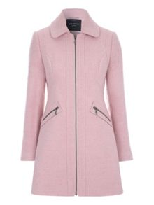 Pale Pink Zip Detail Boucle Coat