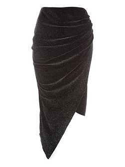 Black Midi Sparkle Ruched Skirt