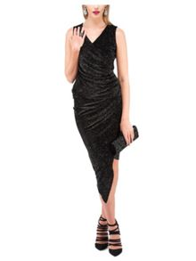 Jane Norman Black Midi Sparkle Ruched Skirt