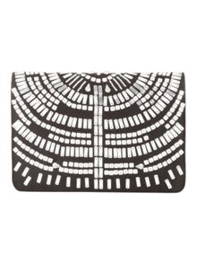 Black & Silver Satin Beaded Clutch Bag