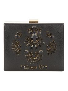 Jane Norman Black Embellished Box Clutch Bag