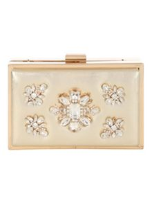 Jane Norman Gold Embellished Box Clutch
