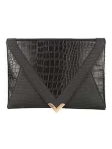 Black Croc Clutch Bag