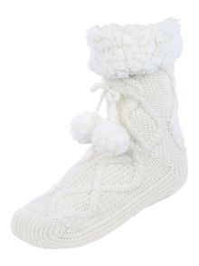 Jane Norman Cable Knit Slipper Socks