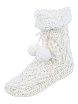 Cable Knit Slipper Socks