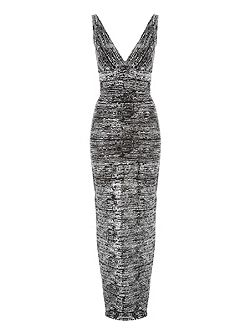 Black & Silver Foil Bandage Maxi Dress