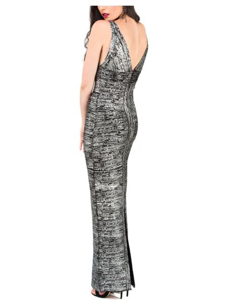 Jane Norman Black & Silver Foil Bandage Maxi Dress