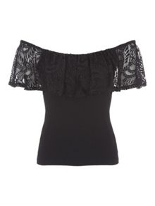 Jane Norman Black Lace Bardot Top
