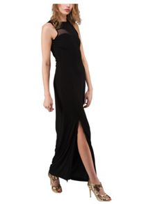 Jane Norman Black Mesh Insert Maxi Dress