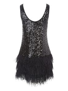 Black Short Sequin Feather Dress