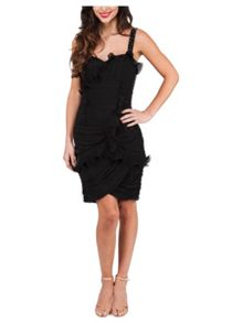 Jane Norman Black Embellished Short Ruffle Dress