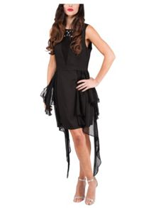 Short Mesh Insert Hanky Dress