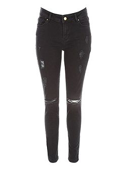 Jane Norman Black Ripped Skinny Jean