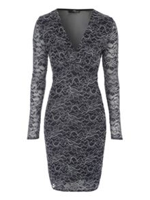 Jane Norman Navy Lace & Mesh Back Long Sleeve Dress