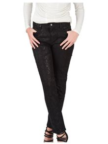 Jane Norman Black Snake Print Straight Jean