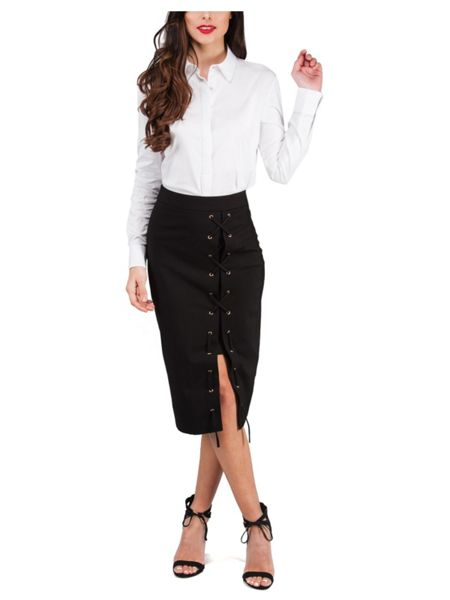 Jane Norman Side Split Lace Up Skirt