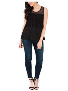 Jane Norman Black Sleeveless Fringed Top
