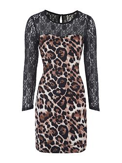 Lace Sleeve Animal Print Mini Dress