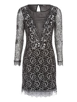Black & Silver Lace & Mesh Mini Dress