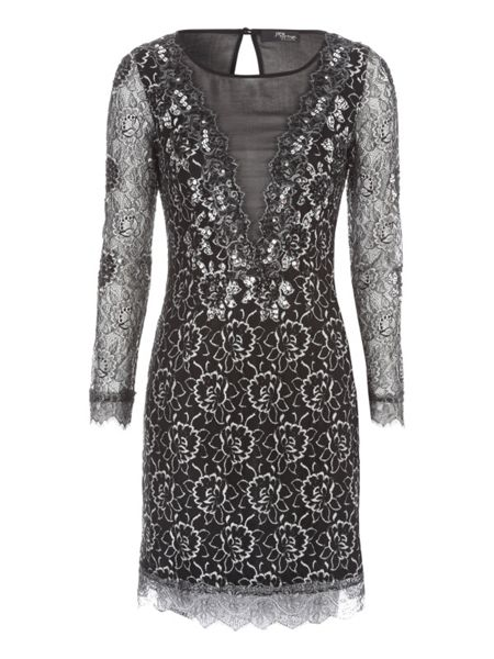 Jane Norman Black & Silver Lace & Mesh Mini Dress