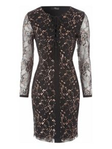 Black & Gold Lace Front Mini Dress