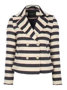 Striped Long Sleeve Textured Jacket