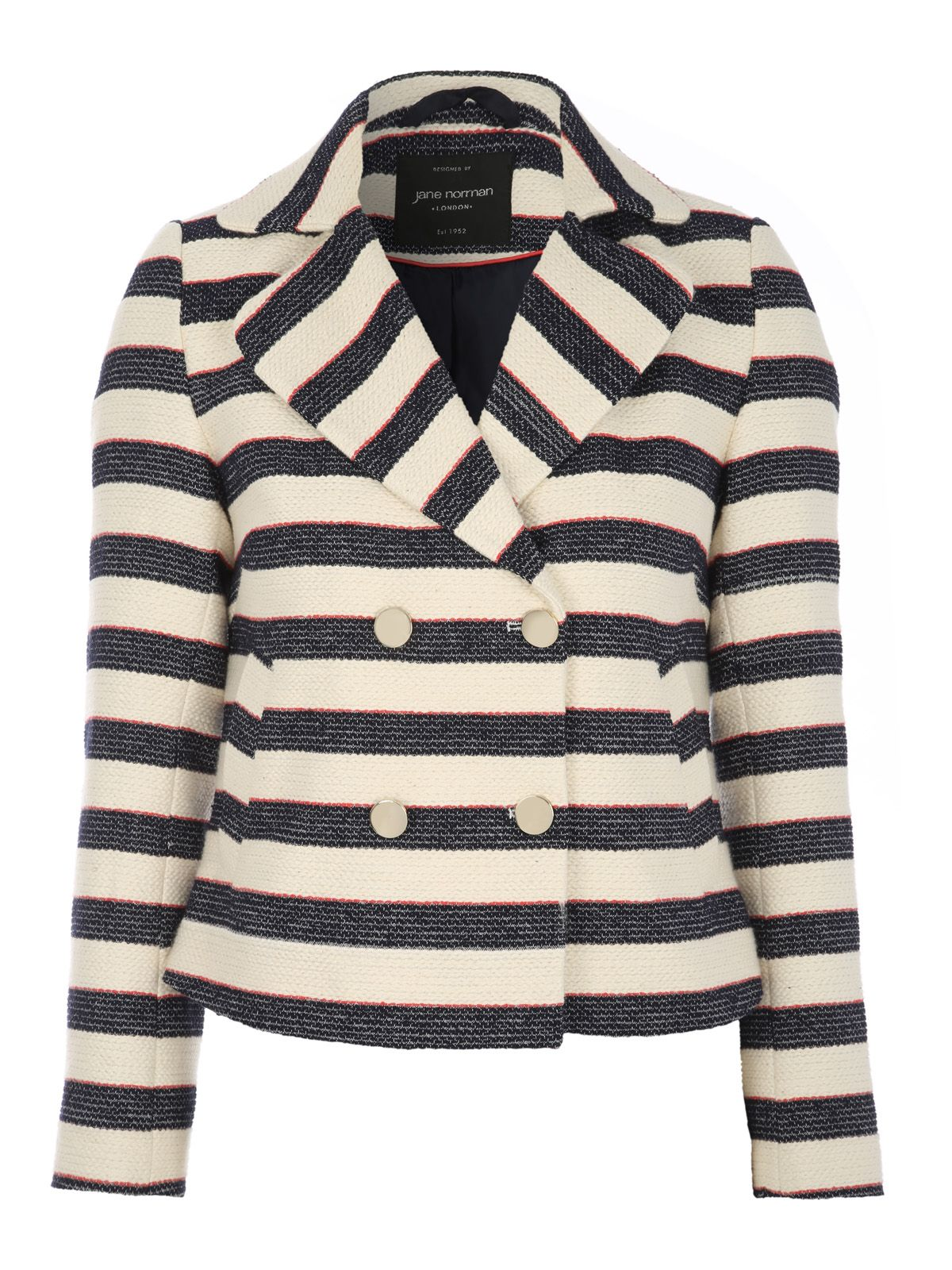 Jane Norman Jane Norman Striped Long Sleeve Textured Jacket, Multi-Coloured