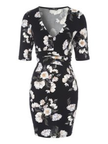 Deep V Winter Floral Dress