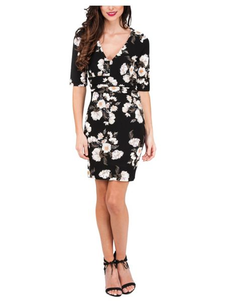 Jane Norman Deep V Winter Floral Dress