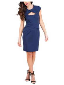 Dark Blue Folded Peplum Dress