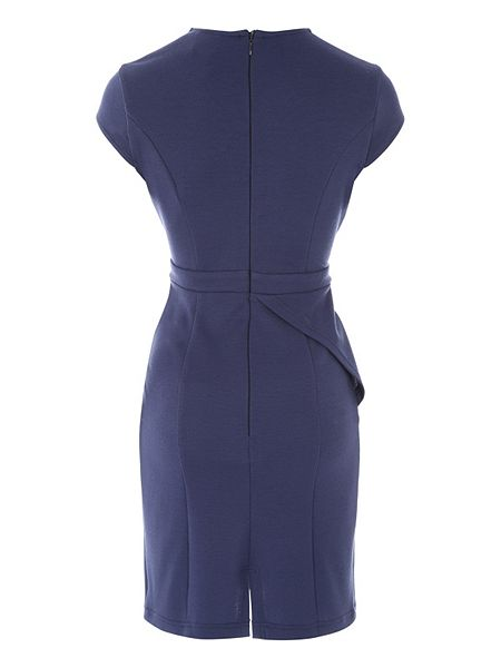 Dark Blue Long Sleeve Belted Peplum Midi Dress is glamorous and elegant with the sexy peplum detail and flattering skintight shape. The succinct and simple design exudes you a covetable temperament and sex appeal.