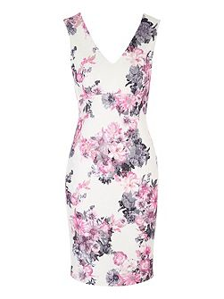 White Floral Printed Bonded Lace Dress