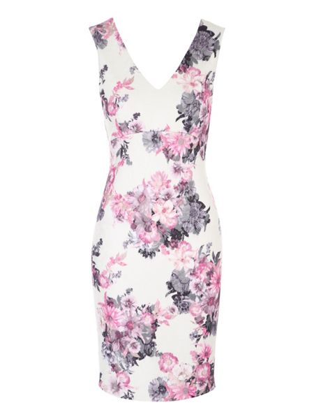 Jane Norman White Floral Printed Bonded Lace Dress