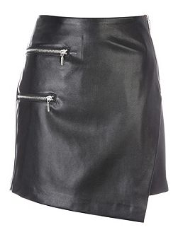 Black PU Assymetric Zip Skirt