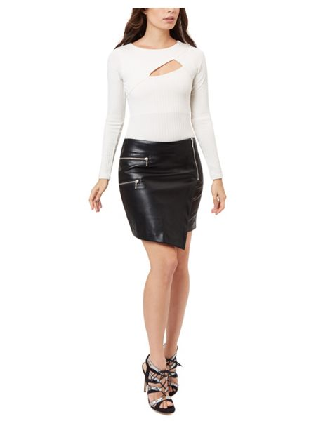 Jane Norman Black PU Assymetric Zip Skirt
