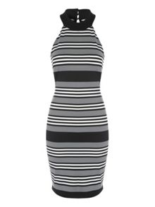 Jane Norman Mono Stripe Sleeveless Midi Dress