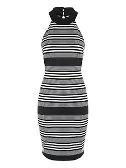 Mono Stripe Sleeveless Midi Dress