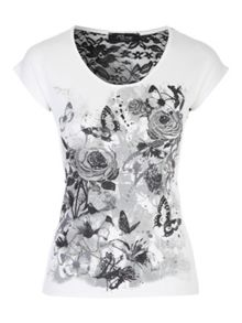 Jane Norman White Printed Lace T-Shirt