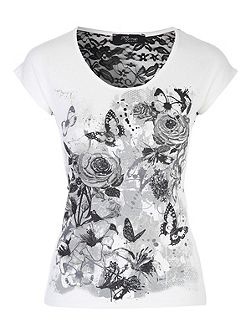 White Printed Lace T-Shirt