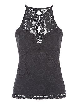 Black Lace Racer Top