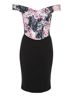 Black Floral Bonded Lace Bardot Dress