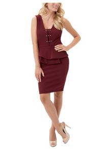 Jane Norman Metal Bar Peplum Midi Dress