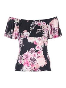 Jane Norman Floral Ruffle Bardot Top