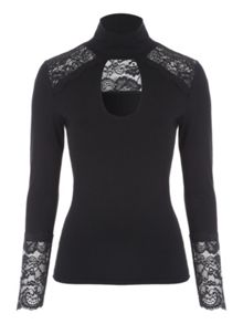 Jane Norman Lace Trim Choker Top