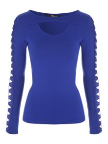 Jane Norman Cut-Out Long Sleeved Top