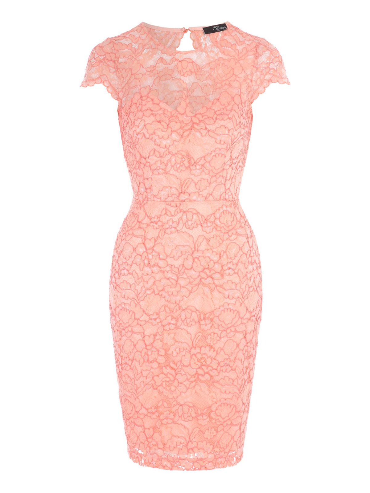 Jane Norman Scallop Lace Bodycon Dress, Coral