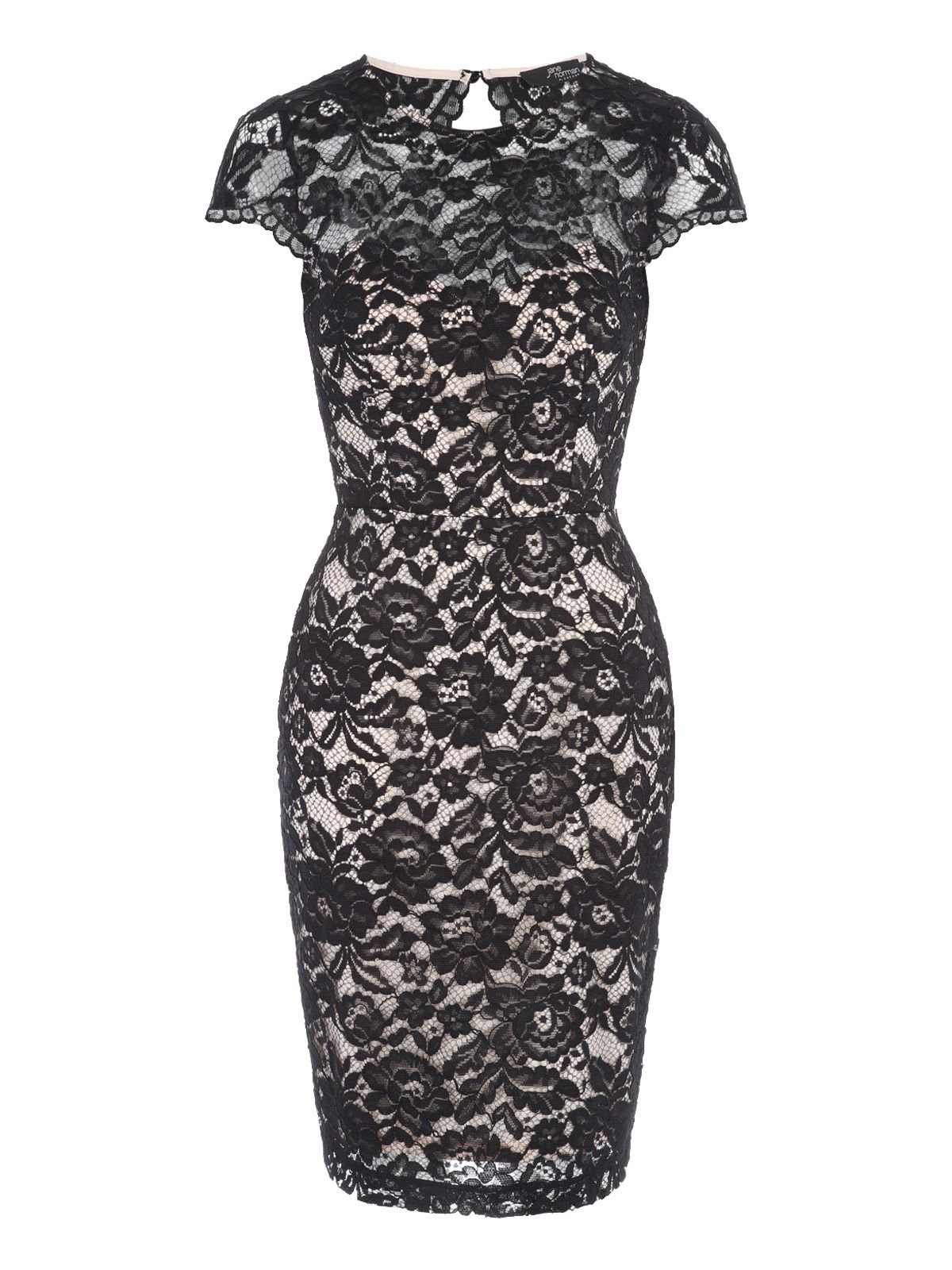 Jane Norman Scallop Lace Bodycon Dress, Black