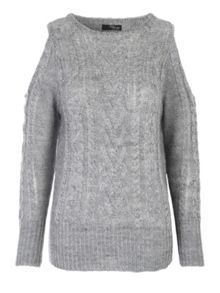 Jane Norman Cold Shoulder Cable Jumper