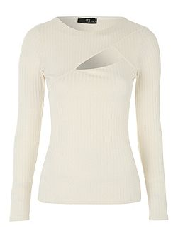 Ivory Rib Cut Out Top