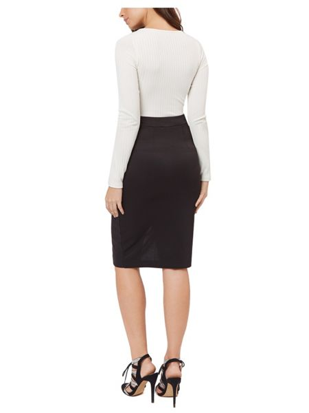 Jane Norman Ivory Rib Cut Out Top